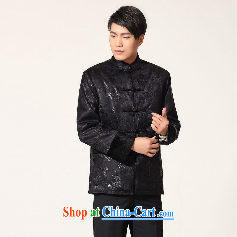 An Jing men's jacket water marten hairs tang on the lint-free cloth with Mr Henry TANG men's long-sleeved jacket Chinese Dragon Chinese T-shirt - B dark blue XXL, an Jing, shopping on the Internet