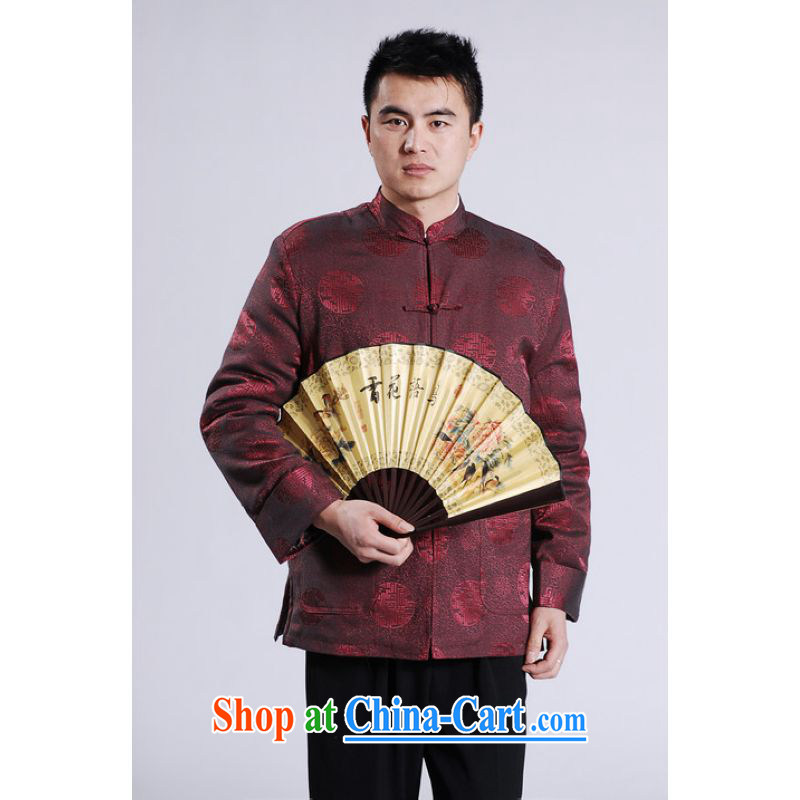 An Jing men's jackets thicken the cotton tang on the lint-free cloth Chinese men's long-sleeved jacket Chinese Dragon Chinese T-shirt wine red XXXL