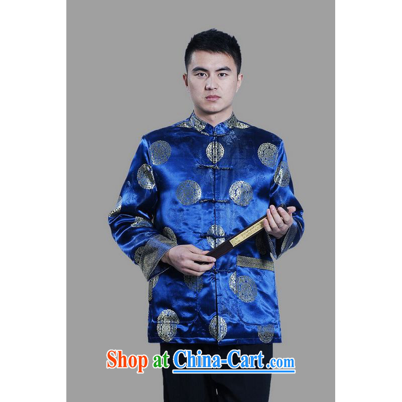 An Jing men's jackets thicken the cotton tang on the lint-free cloth Chinese men's long-sleeved jacket Chinese Dragon Chinese T-shirt - on C cyan L