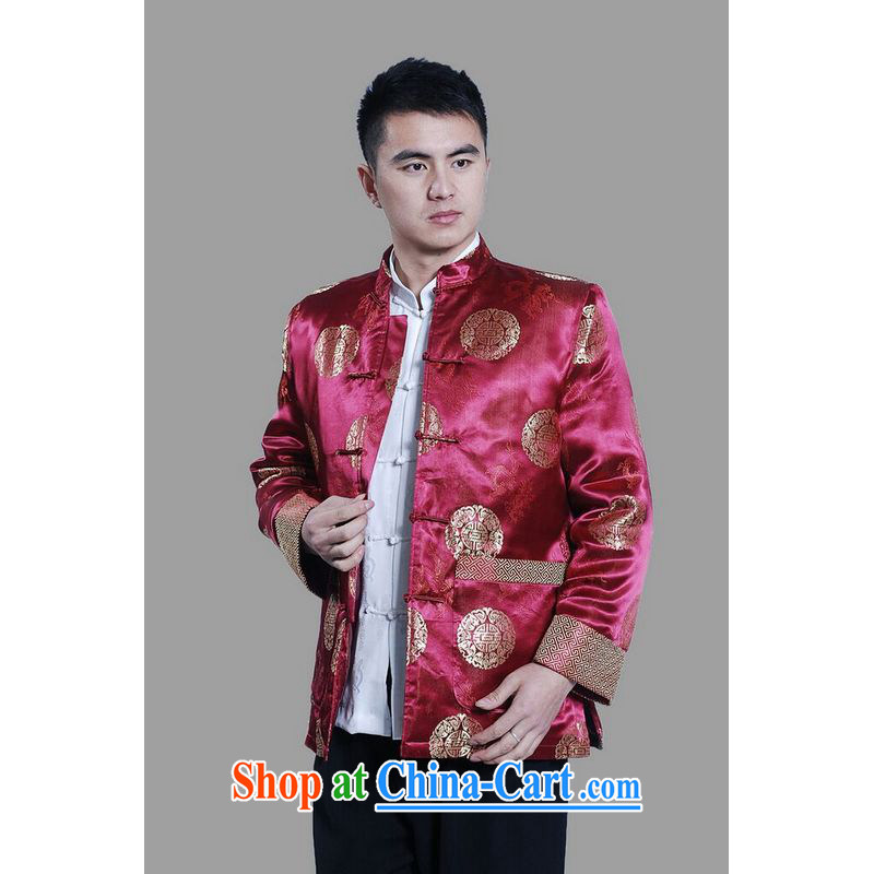 An Jing men's jackets thicken the cotton tang on the lint-free cloth Chinese men's long-sleeved jacket Chinese Dragon Chinese T-shirt - on C cyan L, an Jing, online shopping