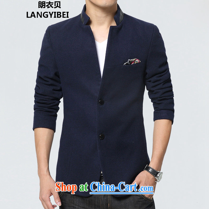 Yuen Long Yi Addis Ababa 2015 autumn and winter new smock suit men and cultivating small suit Korean leisure male smock jacket blue XXXL