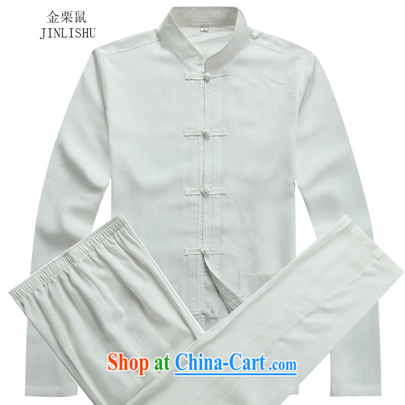 The chestnut mouse linen Chinese men and Autumn and long-sleeved clothing, middle-aged father older persons with Mr Henry TANG Chinese men and replace the clip, for Chinese Package white package M