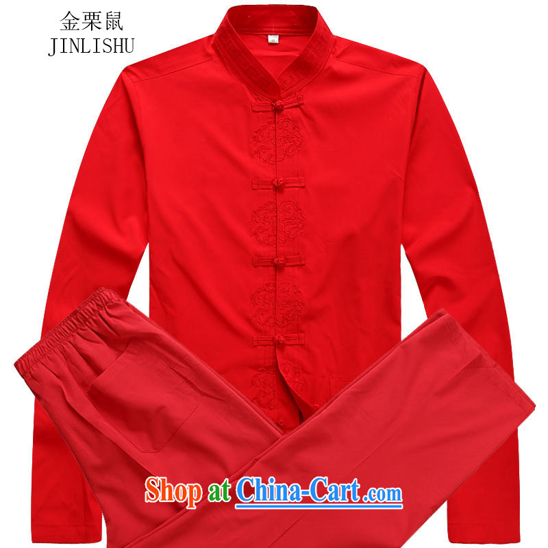 The poppy the Mouse autumn long-sleeved men's 2015 new hands-free ironing T-shirt long-sleeved Tang replacing the collar men Tang Red Kit XXXL
