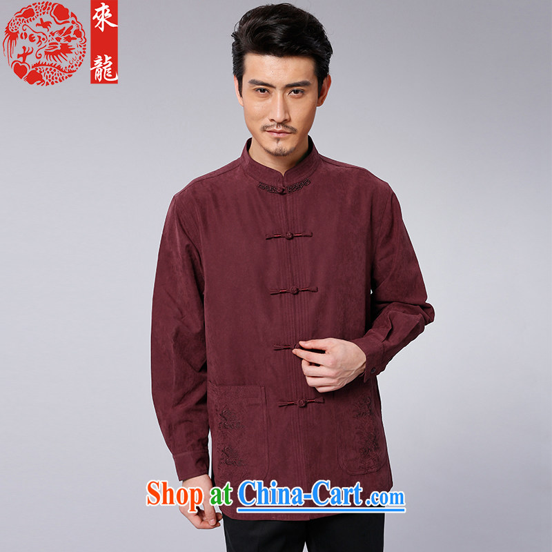 To Kowloon Tong with autumn and winter, China wind men's casual long-sleeved T-shirt 14,554 dark red dark red 52