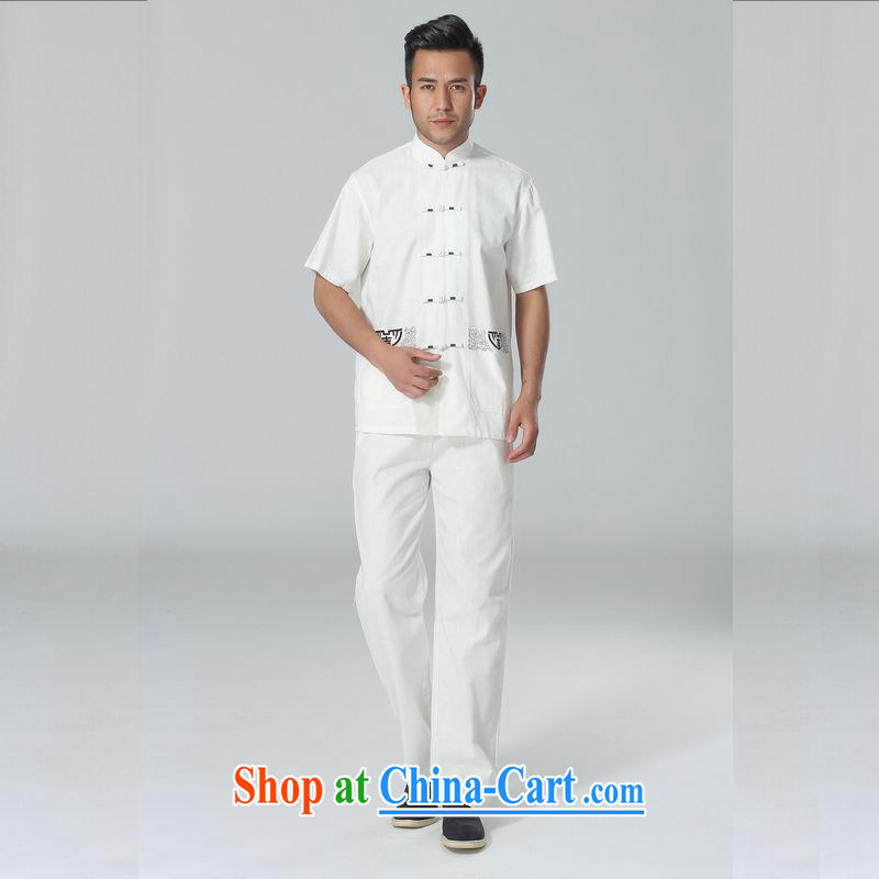 Miss Au resulted in older Chinese men and summer wear, cotton for the Chinese Tai Chi uniforms men's short-sleeve packaged the code men's kung fu Kit white XXXL