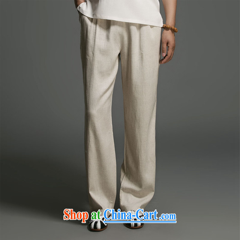 Internationally renowned Chinese Service 2015 spring and summer the men's pants summer linen men's trousers have been relaxed and long pants XL New China wind Cornhusk yellow 3XL