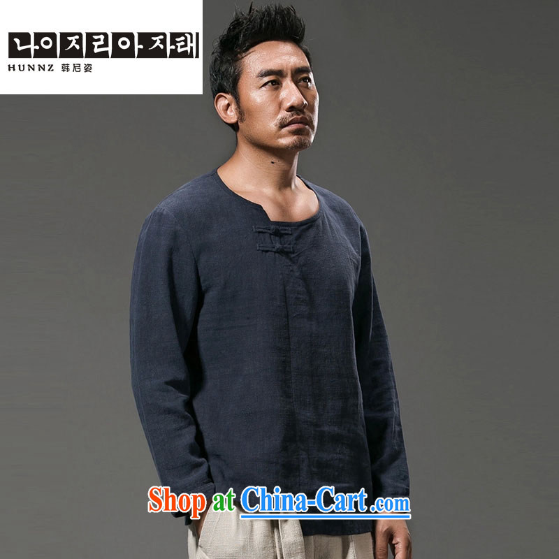 Products HANNIZI China wind men's long-sleeved T-shirt and improved Chinese male and the stylish Han-ethnic wind T-shirt dark blue XXXXL