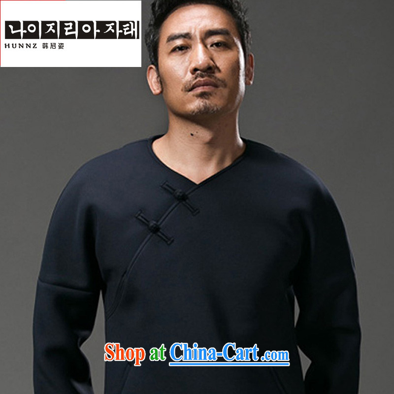 Products HANNIZI China wind men's long-sleeved T-shirt stylish and improved Chinese V collar male and Chinese men and the buckle men's dark blue XXXL