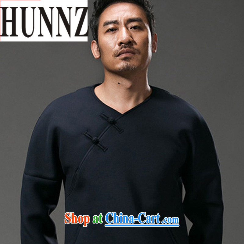 Products HUNNZ China wind men's long-sleeved T-shirt stylish and improved Chinese V collar male and Chinese men and the buckle men's dark blue XXXL