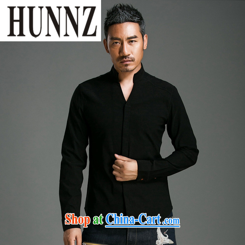 Products HUNNZ China wind shirt men's linen solid-colored long-sleeved style China wind Chinese T-shirt Ethnic Wind men's black XXL too small a code