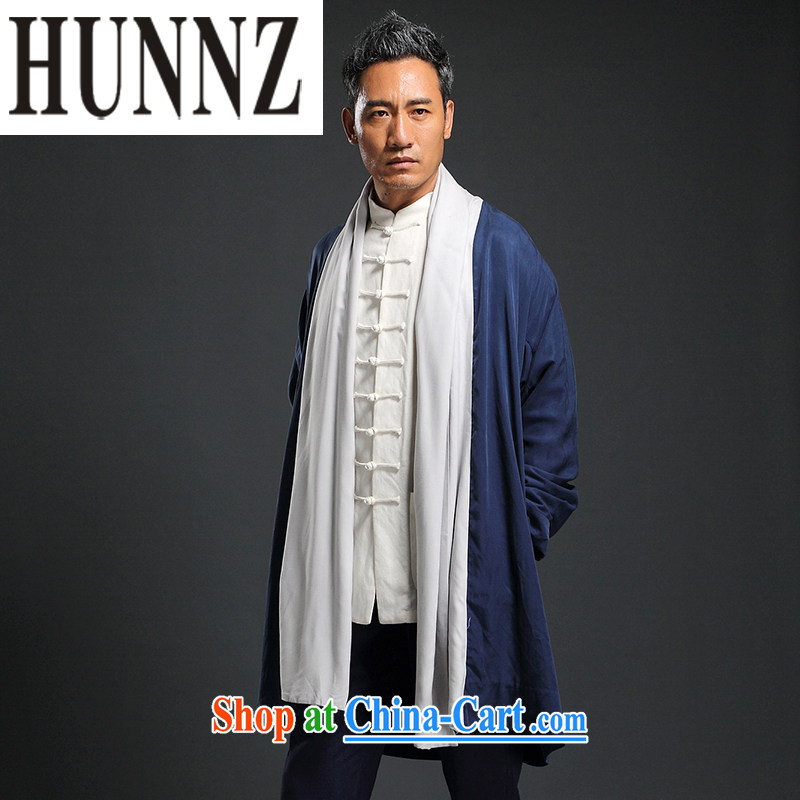 Products HUNNZ Chinese style classical Chinese The Netherlands improved, served tea square serving Chinese long, leprosy cotton clothing and men's dark blue XXXXL