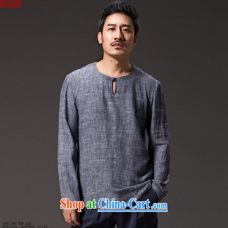 Internationally renowned Chinese clothing Chinese wind male T shirts spring long-sleeved ethnic wind linen men's Chinese T-shirt casual relaxed solid shirt 56 dark gray 4 XL