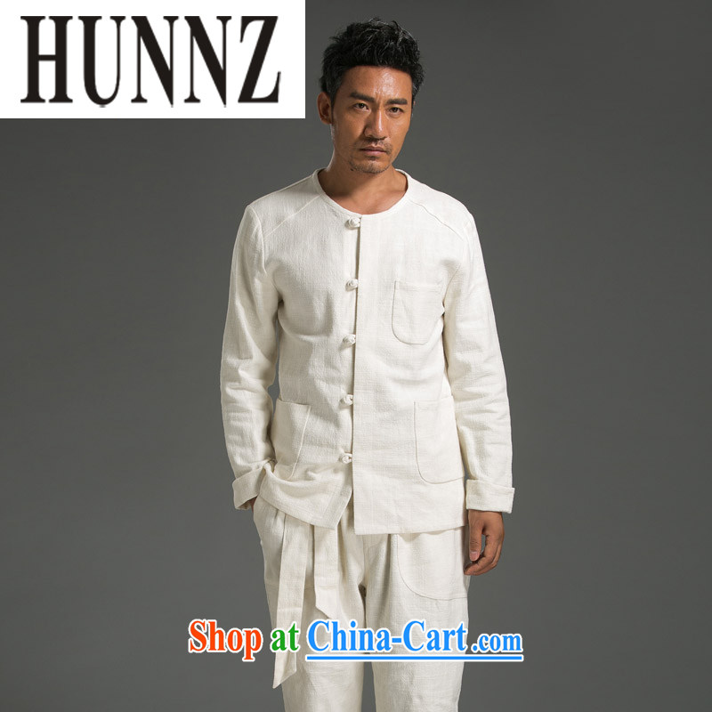 Products HUNNZ minimalist men's long-sleeved Kit China wind plain colored Chinese classical Chinese Kung Fu T-shirt with cotton Ma Sau San white XXL