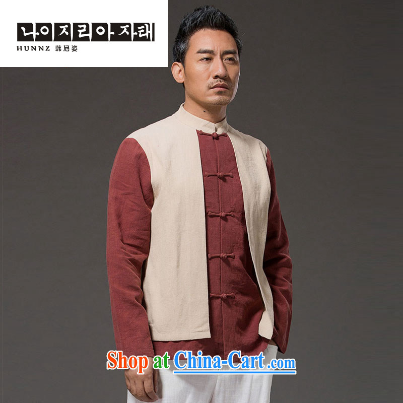 Name HANNIZI, new Chinese wind leave of two in cultivating men's long-sleeved clothes, linen and stylish spell color-charge-back the collar T-shirt yellow XXXL