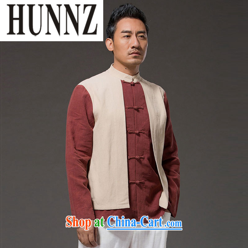 Name HUNNZ, new Chinese wind leave of two in cultivating men's long-sleeved clothes, linen and stylish spell color-charge-back the collar T-shirt yellow XXXL