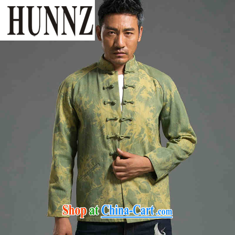 Products HUNNZ stylish denim Tang replace streaking China wind Chinese leisure-detained national long-sleeved jacket men's T-shirt green XXL