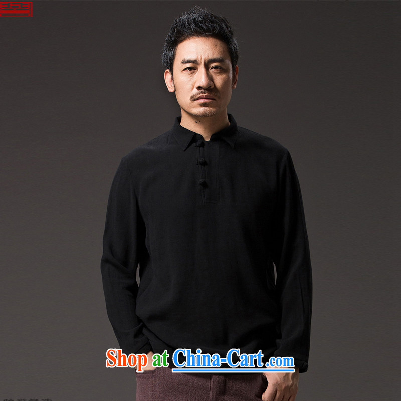 Internationally renowned Chinese clothing 2015 spring men T shirt long-sleeved Chinese wind male lapel shirt new Chinese Han-tray snaps leisure C 8 black 4 XL