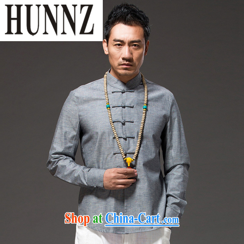 Products HUNNZ natural cotton the Chinese men's beauty-tie Long-Sleeve Chinese Han-ethnic wind clothing men's gray XXL