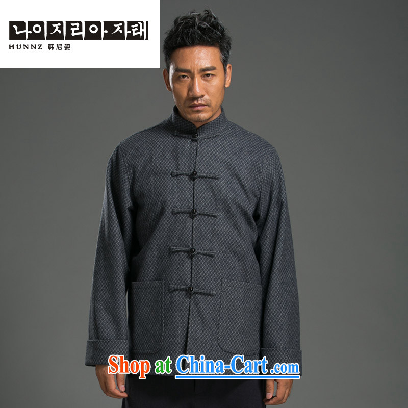 Products HANNIZI China wind linen Tang is a collar-Tie long-sleeved loose men's T-shirt classic national Buddha beads snap trim light gray XXXL
