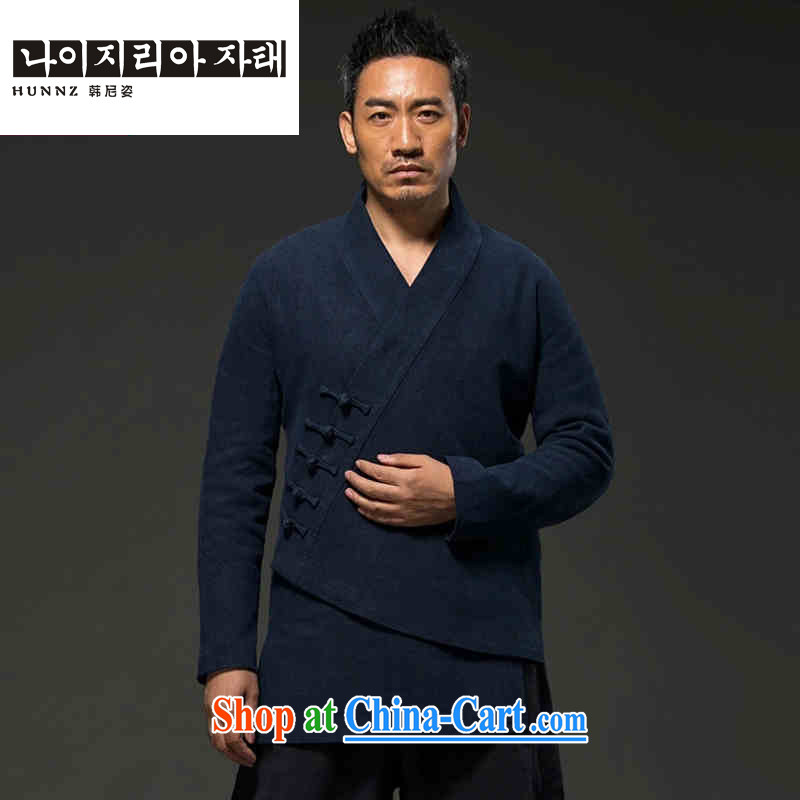 Products HANNIZI men's natural classic cotton Ma Tang with long-sleeved improved Han-Hermit spiritual practice serving loose the tight T-shirt dark blue L