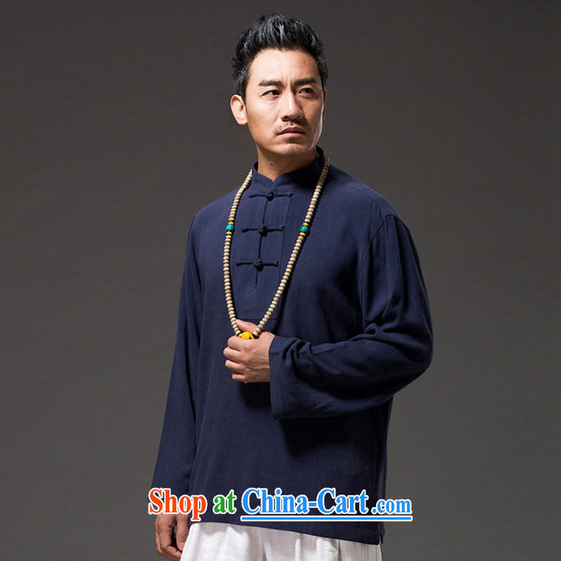 Internationally renowned Chinese clothing Chinese style Chinese men's long-sleeved shirt T autumn loose men's linen shirt Solid Color cotton the shirt and the tie dark blue 4 XL