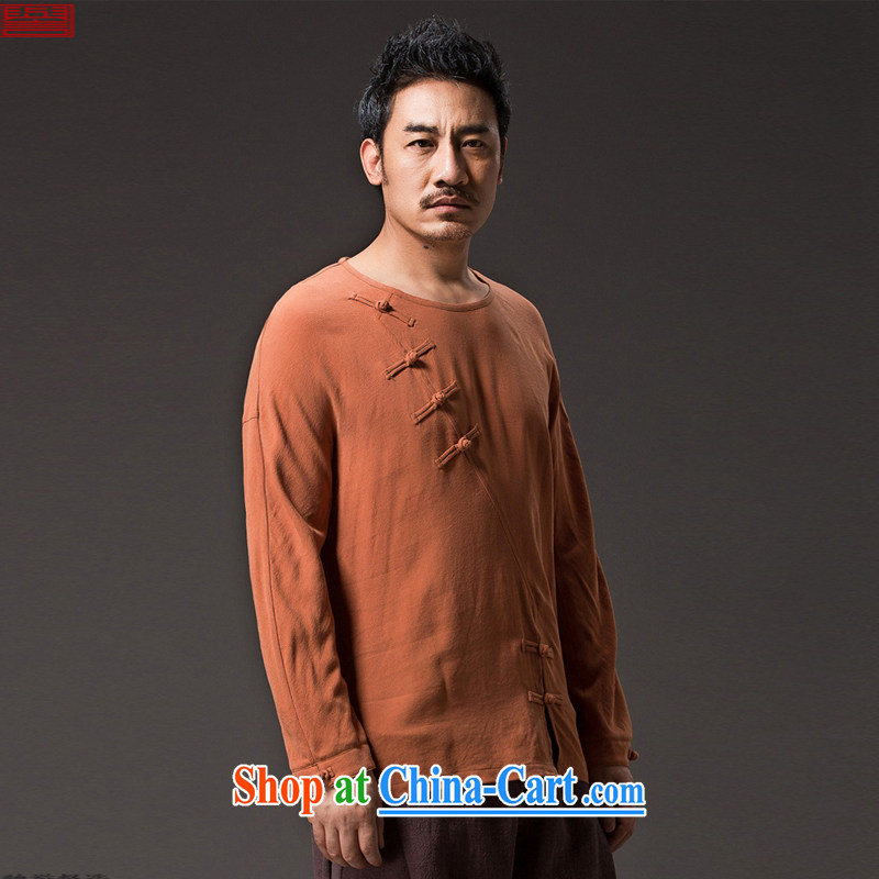 Internationally renowned Chinese clothing men's Chinese long-sleeved linen-chiu, Chinese wind T-shirt loose cotton Ma-snap improved ramp ends, served national orange 4 XL