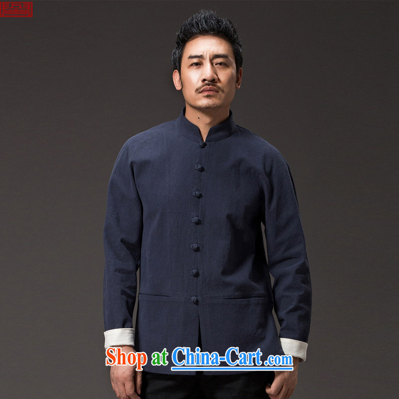 Internationally renowned Chinese clothing Chinese style Chinese men's long-sleeved jacket autumn linen T-shirt men's loose cotton Ma men's Chinese-tie solid color dark blue 4 XL