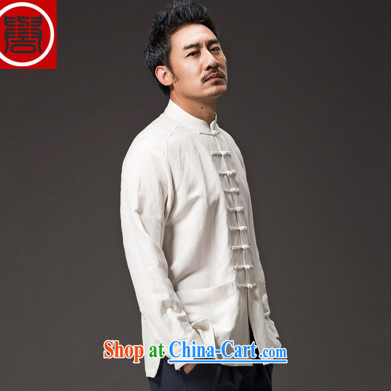 Internationally renowned Chinese clothing men's Chinese long-sleeved jacket, white collar autumn China wind men's T-shirt linen new cotton Ma Han-male white 4 XL