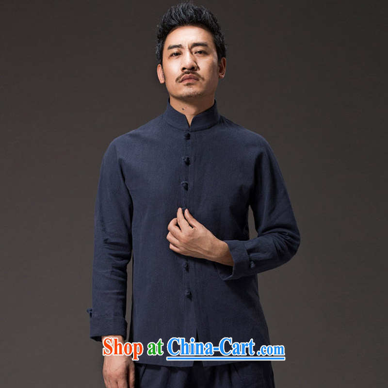 Internationally renowned Chinese clothing men's Chinese long-sleeved T-shirt, collar-tie Autumn Chinese wind cotton the men's shirts linen jacket men and Chinese dark blue 3XL