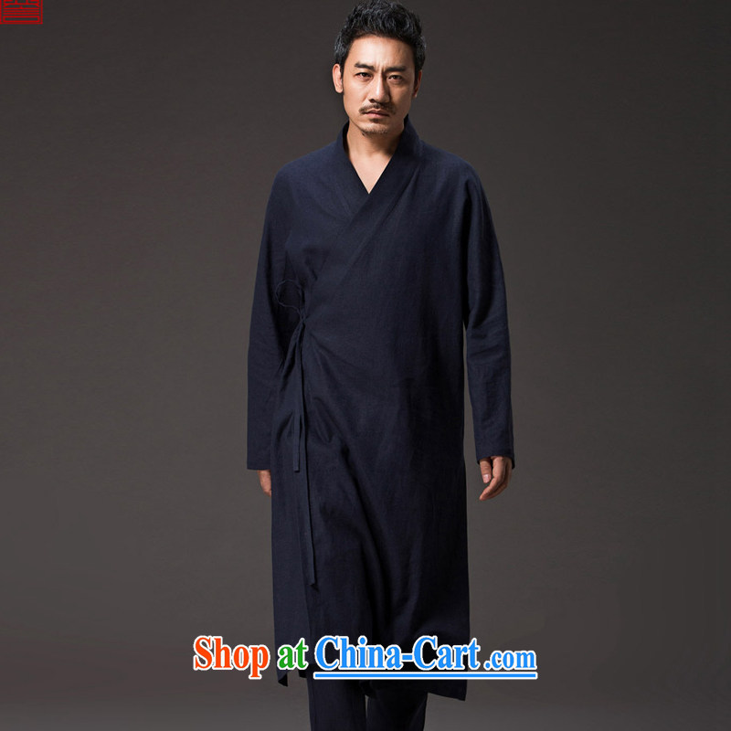 Internationally renowned Chinese clothing Chinese wind men Han-improved Chinese Cheongsams wind Yi tea service long-sleeved spiritual Nepal is loose ends jacket and dark blue 2 XL