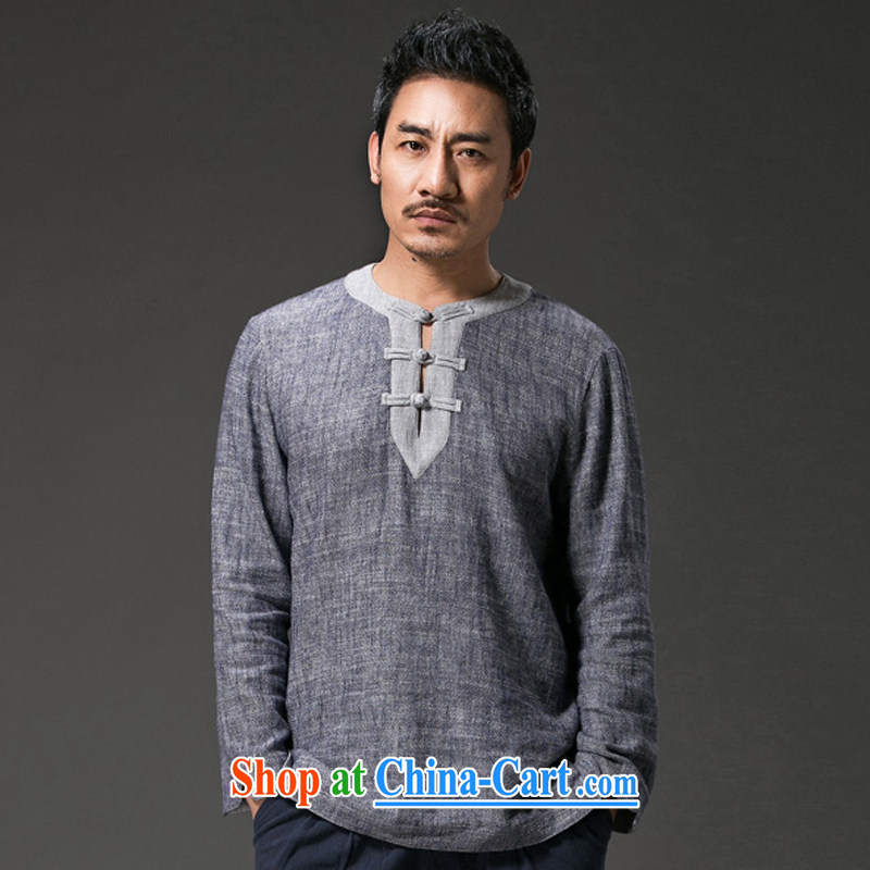 Internationally renowned Chinese clothes fall on men and long-sleeved T-shirt men's Autumn Chinese wind linen T-shirt V collar-tie Chinese men's cotton the retro style dark gray 3 XL