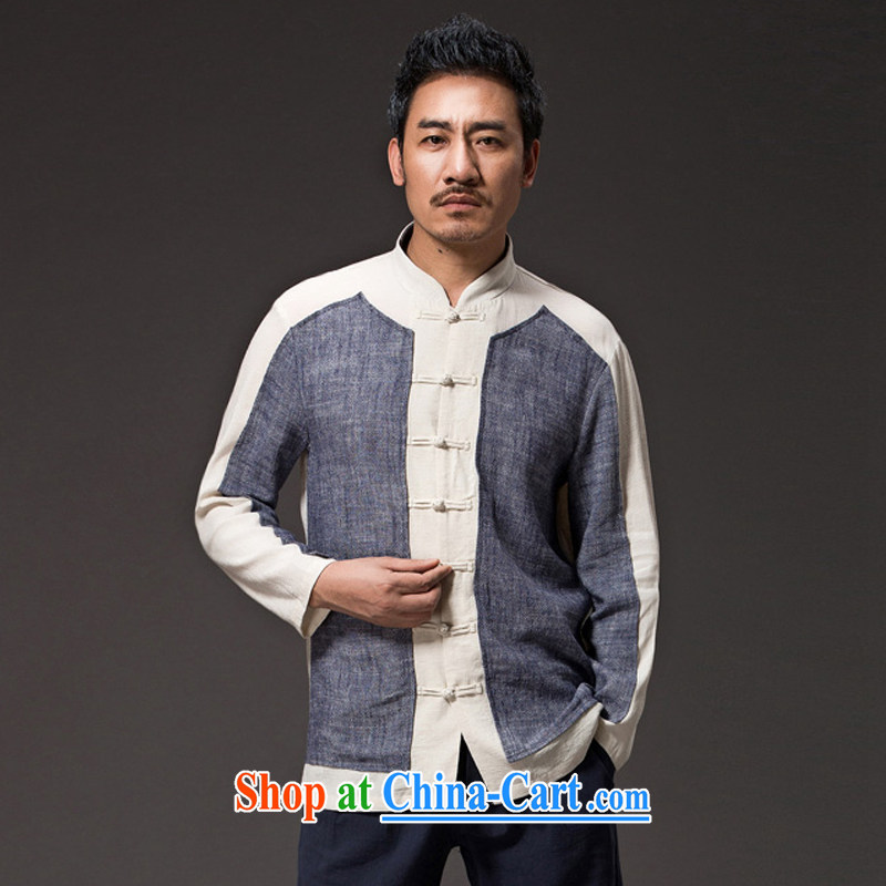 Internationally renowned Chinese clothing Chinese wind men Tang jackets fall, men's linen shirt loose long-sleeved cotton shirt the Commission, served national dark gray 4 XL