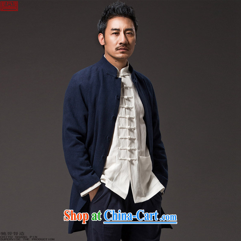 Internationally renowned Chinese clothing Chinese wind Autumn Chinese men's wind jackets, coats for the cotton men's coats, long linen National Men's dark blue 3XL