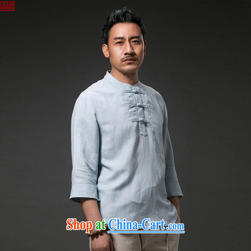 Internationally renowned Chinese clothing summer Ethnic Wind men's short-sleeved shirt T flax, for Chinese Chinese cotton shirt the 20,157 of the cuff 4 sky XL
