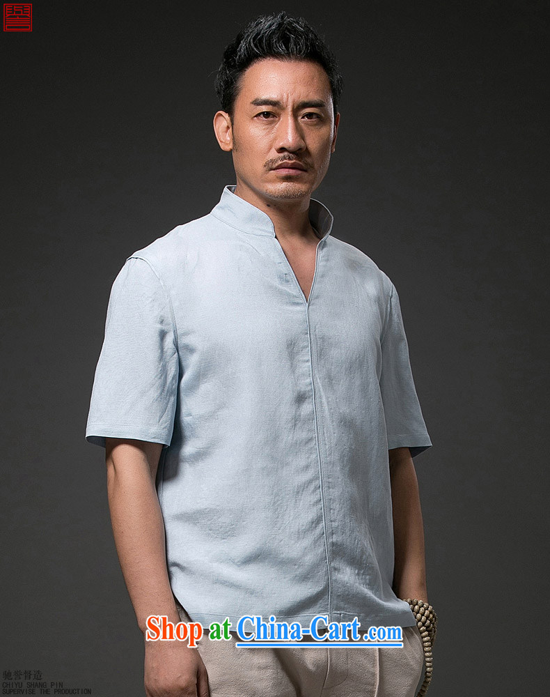 Internationally renowned Chinese clothing Chinese Wind and summer 2015 men's linen T shirt short-sleeved V collar loose breathable half sleeve shirt, summer sky wave 4 XL pictures, price, brand platters! Elections are good character, the national distribution, so why buy now enjoy more preferential! Health