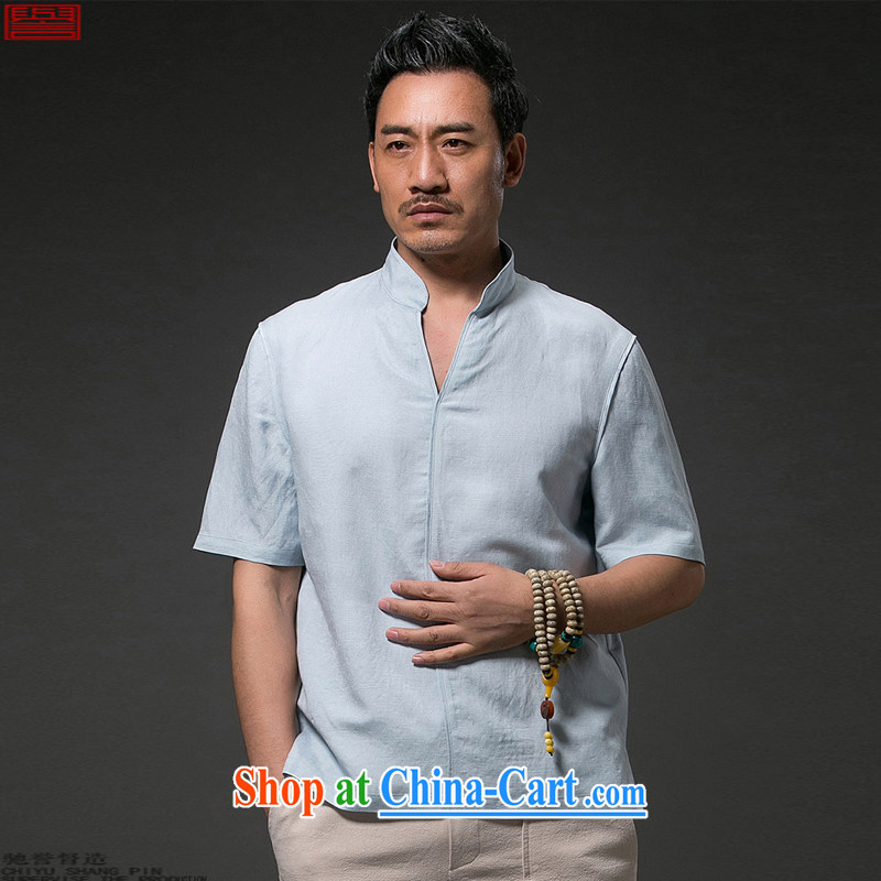 Internationally renowned Chinese clothing Chinese Wind and summer 2015 men's linen T shirt short-sleeved V collar loose breathable half sleeve shirt, summer sky wave 4 XL