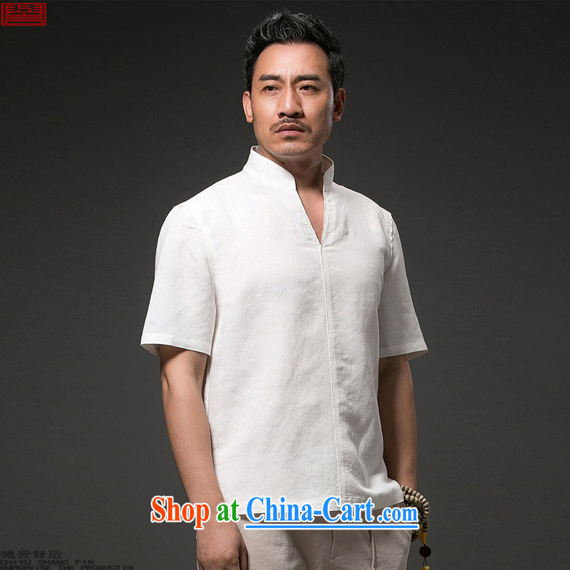 Internationally renowned Chinese clothing Chinese Wind and summer 2015 men's linen T shirt short-sleeved V collar loose breathable half sleeve shirt, summer sky wave 4 XL, internationally renowned (chiyu), online shopping