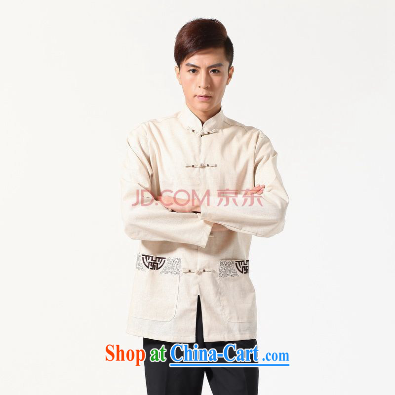Row-frequency long-sleeved Chinese Chinese improved smock the code and replace the collar embroidered cotton the Chinese shirt beige XXXL