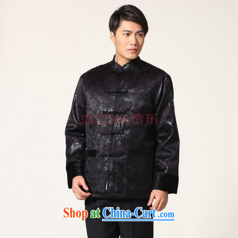 Row-frequency men's jacket water marten hairs Tang with the lint-free cloth with short men's long-sleeved jacket Chinese Dragon Chinese T-shirt - B dark blue XXXL