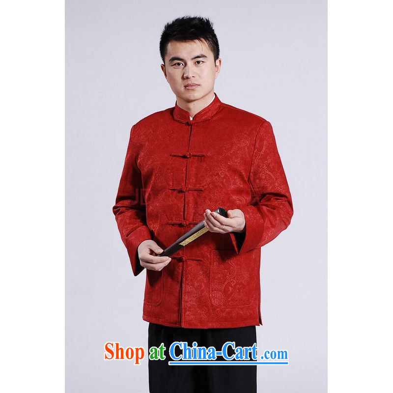 Row-frequency men's jackets thicken the cotton tang on the lint-free cloth Chinese men's long-sleeved jacket Chinese Dragon Chinese T-shirt red XXXL