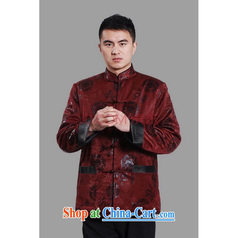 Row-frequency men's jacket water marten hairs Tang with the lint-free cloth Chinese men's long-sleeved jacket Chinese Dragon Chinese T-shirt dark red XL