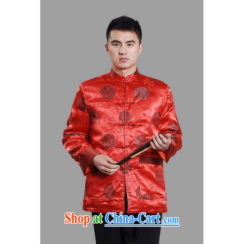 Row-frequency men's jackets thicken the cotton tang on the lint-free cloth Chinese men's long-sleeved jacket Chinese Dragon Chinese T-shirt - A red XXL