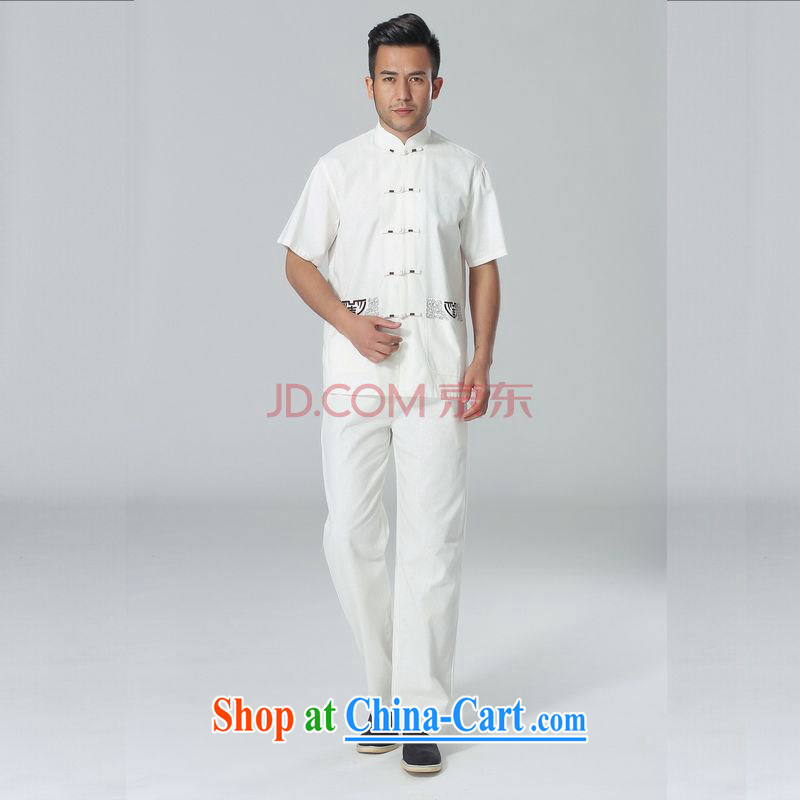 The frequency response in older Chinese men and summer, cotton for the Chinese Tai Chi clothing men's short-sleeve packaged the code men's kung fu Kit white L
