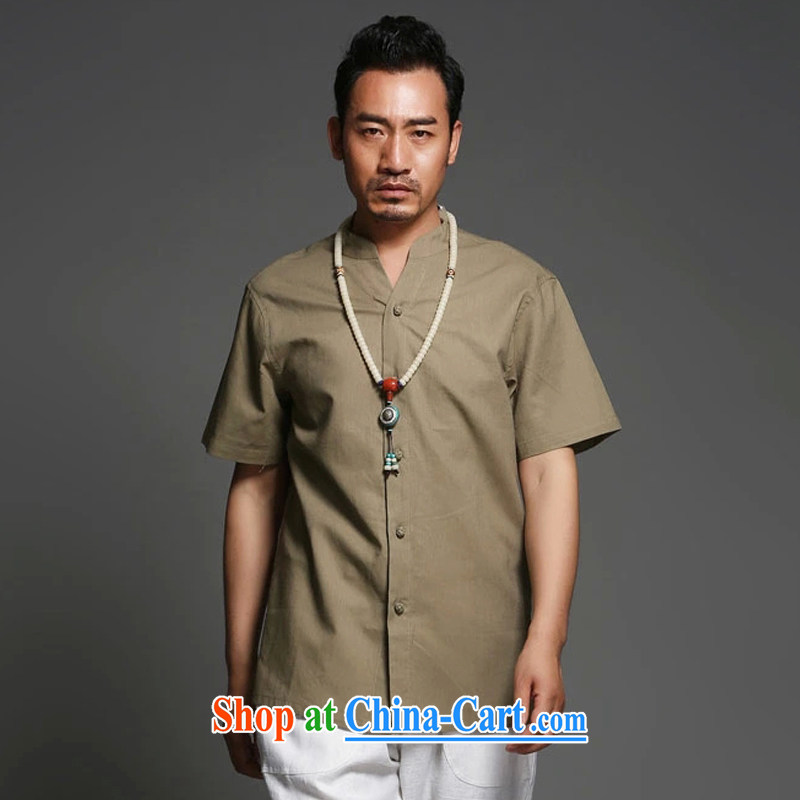 Internationally renowned Chinese clothing cotton mA short-sleeve shirt men's summer thin China wind men and linen shirt, collar-tie solid color loose ethnic wind card and his 2 XL
