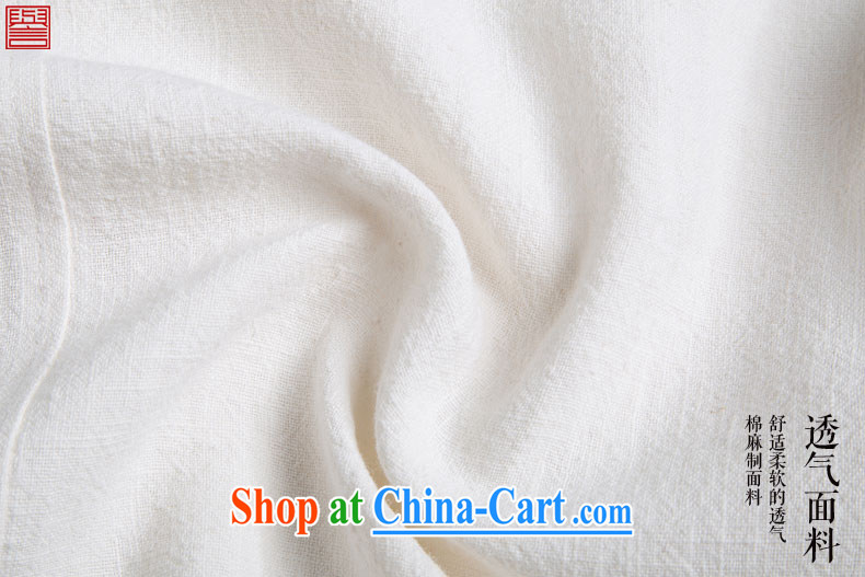 Internationally renowned Chinese clothing Chinese Wind and Yau Ma Tei cotton short-sleeved shirt Chinese men's linen casual stamp the Summer T-shirt ethnic unrest white 4XL pictures, price, brand platters! Elections are good character, the national distribution, so why buy now enjoy more preferential! Health