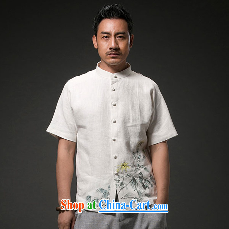 Internationally renowned Chinese clothing Chinese Wind and Yau Ma Tei cotton short sleeved T-shirt Chinese men's linen casual stamp the Summer T-shirt national craze white 4XL