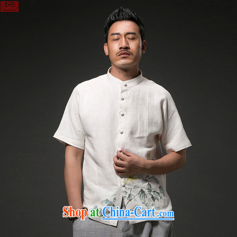 Internationally renowned Chinese clothing Chinese Wind and Yau Ma Tei cotton short sleeved T-shirt Chinese men's linen casual stamp the Summer T-shirt national craze white 4XL, internationally renowned (chiyu), online shopping