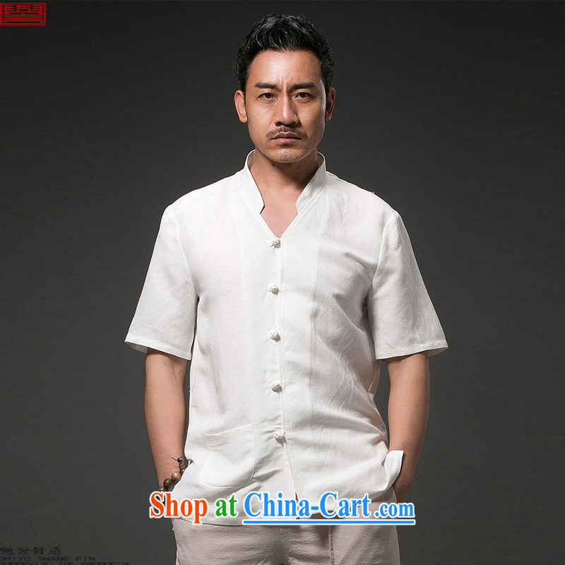 Internationally renowned Chinese clothing Chinese wind 2015 summer men's linen shirts, short-sleeved cotton shirt the casual half sleeve retro ethnic wind white 4XL