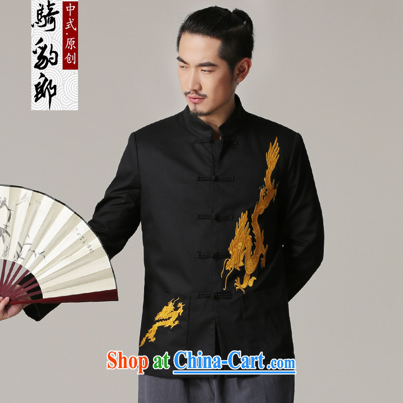 Riding a leopard, Chinese men's autumn and winter, older embroidered dragon jacket retro China wind up for Chinese men's ethnic wear black XXXL