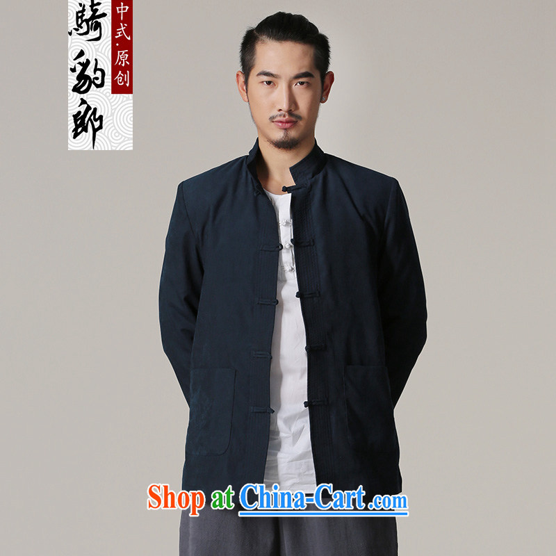 Riding a leopard, Tang jackets men's autumn 2015 new Chinese-buckle antique Chinese Wind and national costumes dark blue XL
